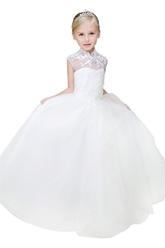 Yuanlu Vintage Flower Girl Dress First Communion Dress Ivory Dress for Wedding Size 4 ()