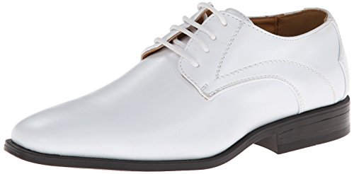 Stacy Adams Carmichael Plain Toe Lace-up Uniform Oxford Dress Shoe (Little Kid/Big Kid),White,3 M US Little Kid Boys White Dress Shoes