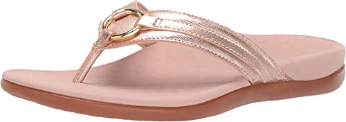 Vionic Women's Tide Aloe Toe-Post Sandal - Ladies Flip- Flop with Concealed Orthotic Arch Support Rose Gold 10 M US