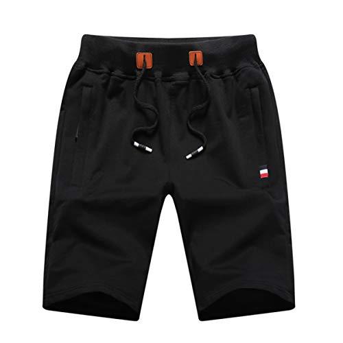 GUNLIRE Big Boy's Black Casual Shorts Summer Cotton Drawstring Elastic Waist Pockets Shorts 2019