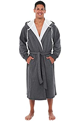 Alexander Del Rossa Mens Cotton Robe, Sweatshirt Style Hooded Bathrobe