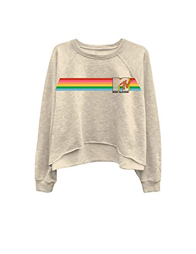MTV Ladies Long Sleeve Shirt - I Want My Logo Oversized Raglan Fleece (Beige, X-Large)
