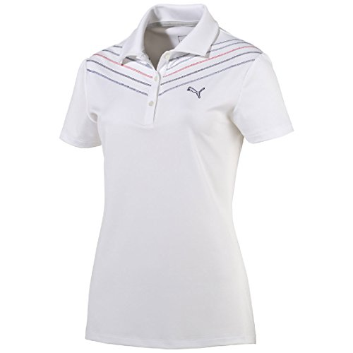 - Puma Women's Golf Sport W Chevron Polo Dry Cell WHITE/STRIPED , konfektionsgröße:XS