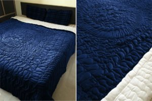 FABRICART LUXURY QUILT VELVET HANDCRAFTED boho/mandala/abstract pattern | quilt/comforter/bedspread | ALL SIZES| (PERSIAN BLUE, KING: 94 x 102 inches)