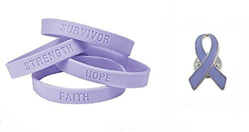 Lavender Ribbon Pin and Inspirational Saying Bracelets (36 Pcs) by DG Shopping Spree