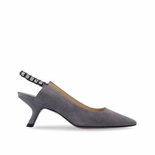 DHG Zapatos Puntiagudo Tacón Negro con Imitación Diamantes Solo Gris Temperamento Femeninos de Taladro 36 de Zapatos Primavera Tacón de de rBqI07rw