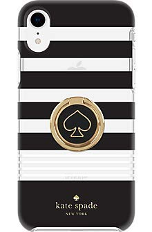 Kate Spade New York Phone Case | for Apple iPhone XR | Protective Hardshell Phone Cases with Slim Design, and Black/Stripe/White (XR)