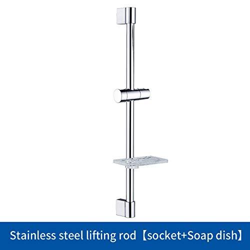 Pipe Bijia Shower Slide Bar Soap Dish Bathroom Shower Adjustable Sliding Bar Set with Soap Dish Chrome with Soap - Dish Soap Mount Riser