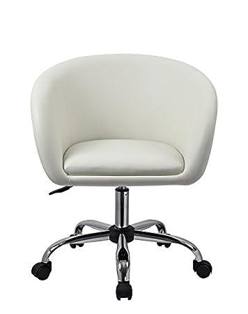 Drehstuhl weiß  Drehstuhl mit Rollen Weiß Schreibtischstuhl Arbeitshocker aus ...