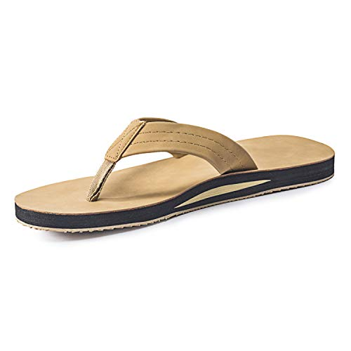 FITORY Mens Flip Flops,Leather Thong Sandals with Arch Support Lightweight Beach Slippers -