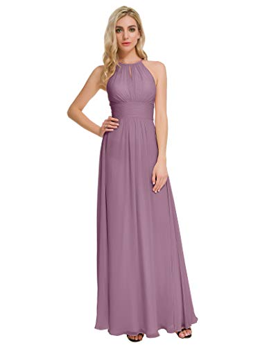 Alicepub Maxi Bridesmaid Dresses Jewel Neck Prom Gowns Halter Evening Dress, Mauve Mist, US4
