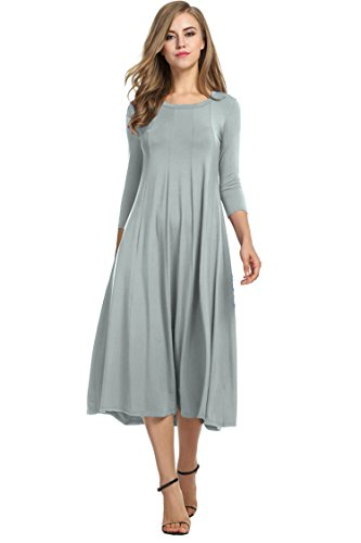HOTOUCH Women's 3/4 Sleeve A-line and Flare Midi Long Dress (Gray XL)