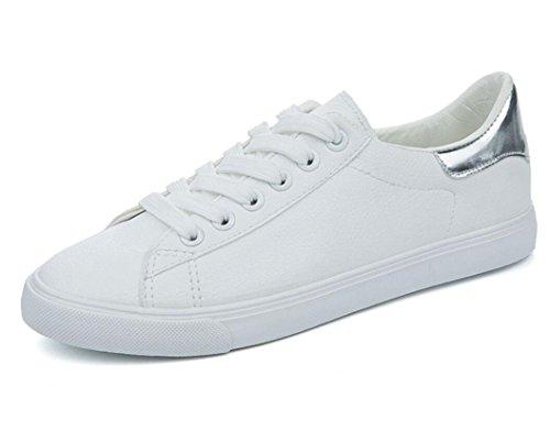 XIE Señora Zapatos Verano Simple Correa De Ocio Cómodo Pequeños Zapatos Blancos Estudiantes Escuela Corriendo Tres Colores, White Green, 39 SILVER-38