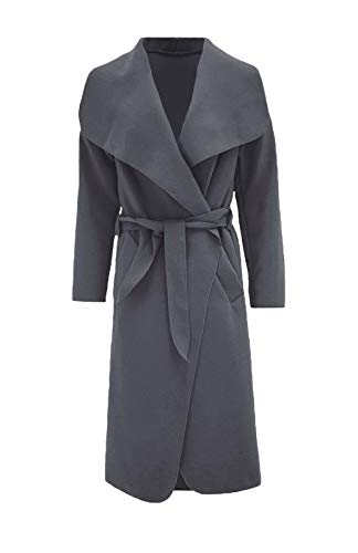 Waterfall Ladies FASHION ZEE Women Italian Long Long Belted Jacket Trench Charcoal Sleeve Coat 8ZX1wxqHX
