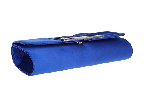 Clutch Dark with Weddings Prom for Handbags Evening Blue Womens Satin Puluo Chain Blue Bag Bag qHx8AWwv
