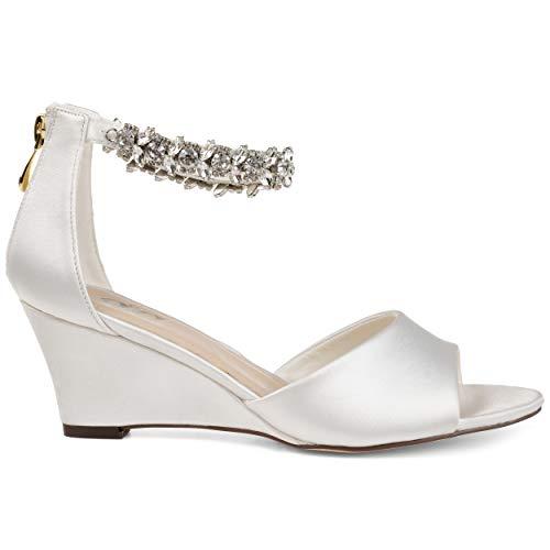 (Brinley Co. Womens Jeweled Open-Toe Wedge White, 8 Regular US )