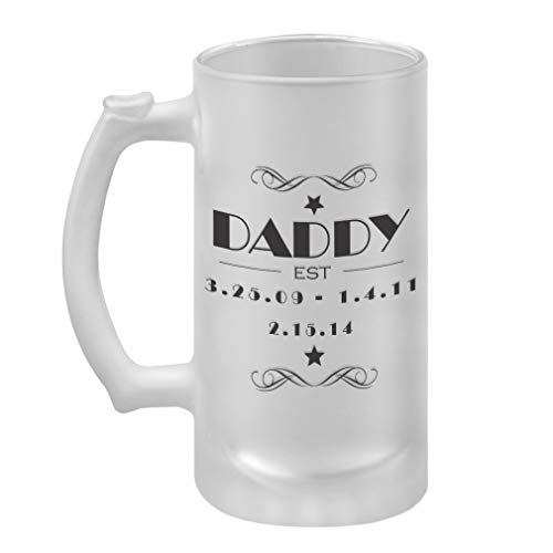 Personalized Custom Text Daddy -EST- Date Frosted Glass Stein Beer Mug