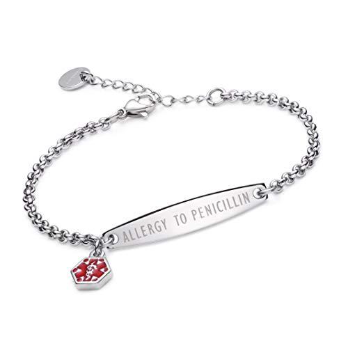 (linnalove-Pre-Engraved Simple Rolo Chain Allergic Medical Alert Bracelet for Women & Girl-Allergic to)