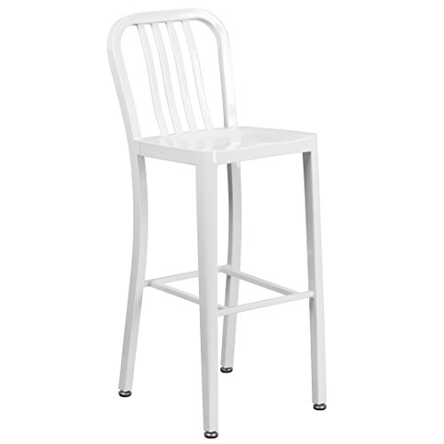 MFO 30'' High White Metal Indoor-Outdoor Barstool with Vertical Slat Back