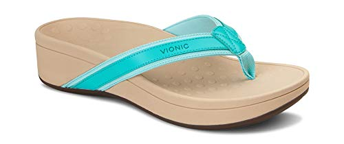 Vionic Women's Pacific High Tide Toepost Sandals - Ladies Platform Flip Flops with Orthotic Arch Support Ocean 11 M US