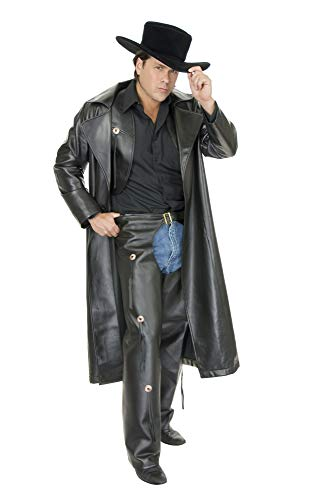 Charades Men's Faux-Leather Range Rider, Black, Medium ()
