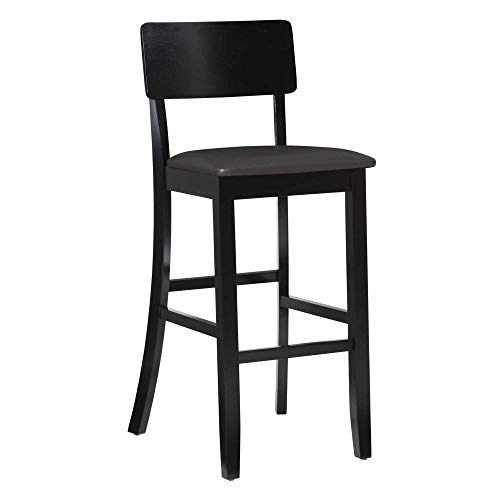 "Linon Home Dcor FBA_01855BLK-01-KD-U Torino Collection Contemporary Bar Stool, 30"", 17"" W x 20"" D x 43"" H, Black"