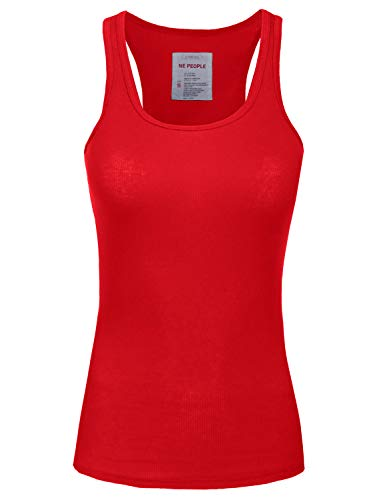 Red Racerback Tank Top - NE PEOPLE Womens Basic Stretch Comfy Fitted Ribbed Tank Top S-3XL