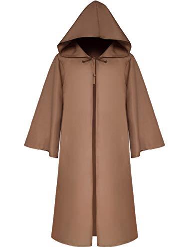 Men's Star War Jedi Robes Middle Age Death Knight Capes Kids Halloween Jedi Cosplay Cloak Costume Robe(CO-L)