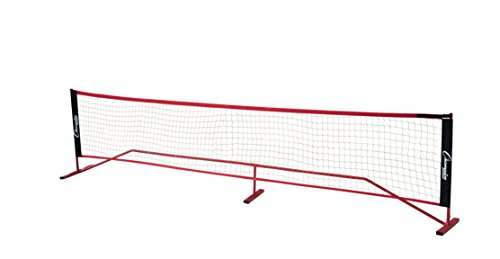Champion Sports Portable Volleyball Net: Adjustable 14 Foot Racquet Sport, Tennis, Badminton, and Game Net – Red