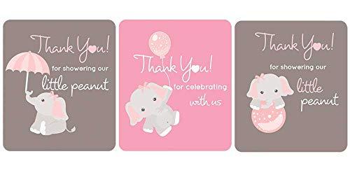 Digitaldoodlebug Gray Elephant Lip Balm Labels Baby Shower Favors Set of 45 (Light Pink)