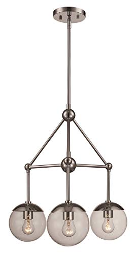 (Riviera 3-Light Pendant in Polished Chrome with Clear Glass)
