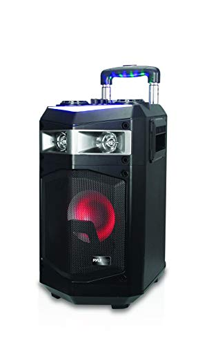 Portable PA Speaker Powered Rechargeable Outdoor Speaker Microphone Set with Mic Talkover MP3 USB SD FM Radio AUX, LED Dj Lights, Pyle PWMKRDJ84BT (System-500W BT Connectivity (Pa Speakers Lightweight)