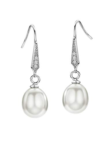 Dangle Birthstones Jewelry - White Freshwater Pearl Earrings Dangle Drop Sterling Silver Earrings Diamond Accented Fine Jewelry for Women