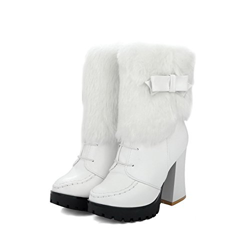AgooLar Women's Soft Material Zipper Closed Round Toe High-Heels Low-Top Boots White J1vKg