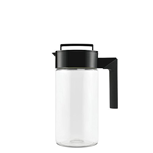 Takeya Patented and Airtight Pitcher Made in the USA, 1 Quart, Black (1 Liter Glass Pitcher With Lid)