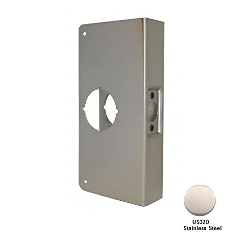 Don-Jo 2-CW-S Stainless Steel Classic Wrap-Around Plate, Satin Stainless Steel Finish, For Cylindrical Door Locks, 4'' x 9'', 2-3/8'' Backset, 1-3/4'' Door Size