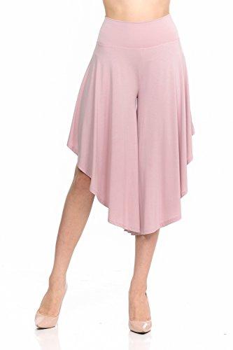 (JDJ CO. Women's Layered Wide Leg Flowy Cropped Palazzo Pants, 3/4 Length High Waist Palazzo Wide Legs Capri Pants (Medium, 1082-Mauve))