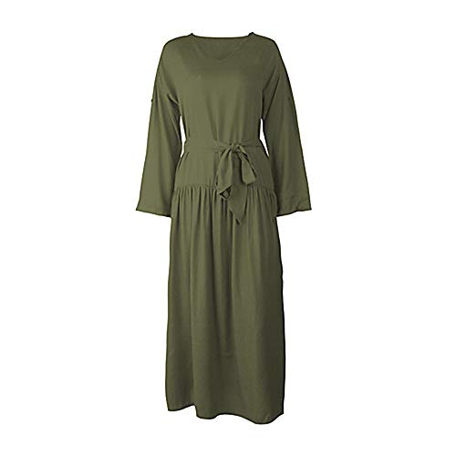 Mujer Un Maxi M Color Vaina Básico Armygreen Vestido TTSKIRT 6pvnqfOzwf