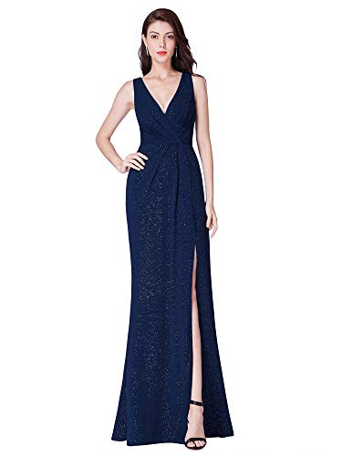 - Ever-Pretty Women's Double V-Neck High Thigh Slit Cocktail Party Maxi Dress Navy US12