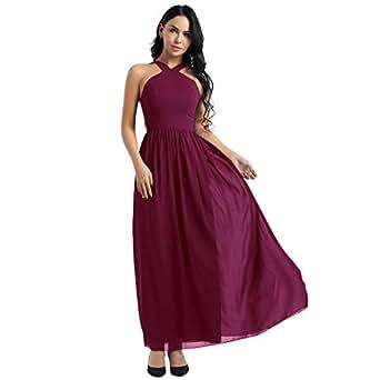 Imagen no disponible. Imagen no disponible del. Color  TiaoBug Vestido de Fiesta  Mujeres Señoras Vestido Largo de Gasa Correas Cruzadaas Elegante para Boda  ... aa70136b9c3a