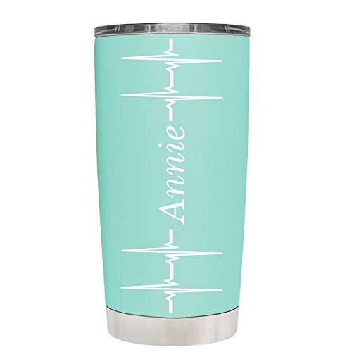 Personalized Heart Beat Pulse on Seafoam 20 oz Stainless Steel Tumbler with Lid - Insulated Cup - Travel Mug - Nurse - Travel Heart Mug