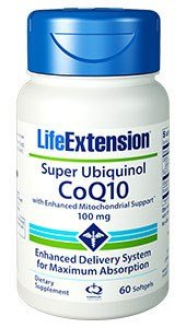 Life Extension Super Ubiquinol COQ10 with Enhanced Mitochondrial Support 100 mg Softgels, 60 Count