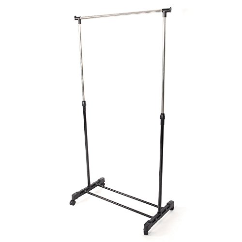 Azamon Clothes Rack Single Rolling Bar Hanging Garment Bar Hanger Adjustable Stainless Steel and PP Plastic Black & Silver