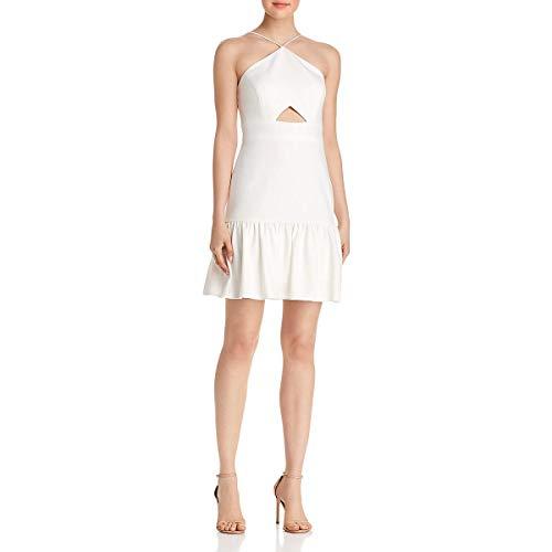 Aidan by Aidan Mattox Womens Halter Cut-Out Scuba Dress Ivory 6