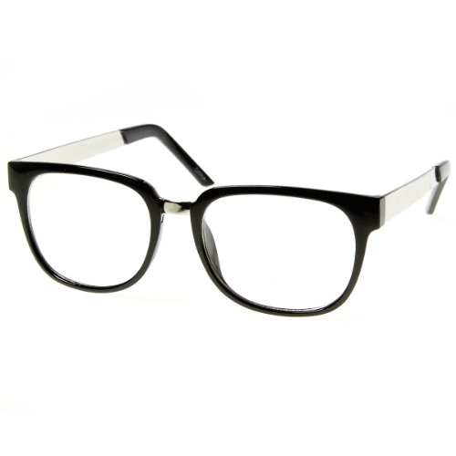 zeroUV - Designer Inspired Clear Lens Horn Rimmed Style Glasses with Metal Arms - Wayfers