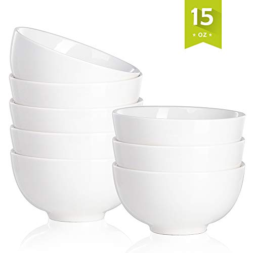 Malacasa REGULAR-003 15 Ounce Porcelain Set 5-Inch Bowl for Rice Ice Cream, Dessert, Small Side Dishes and Salad, 8 Packs, 15 oz, ()