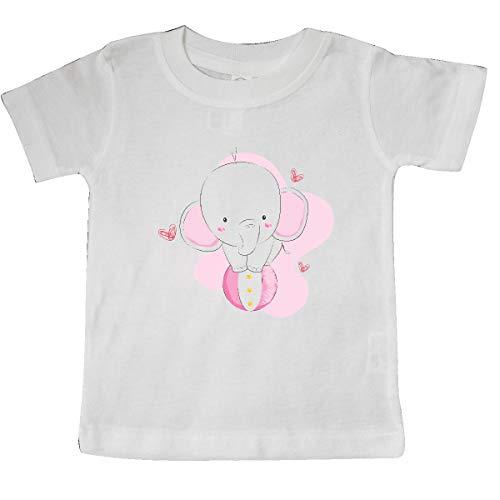 (inktastic Cute Elephant, Baby Elephant, Elephant on Baby T-Shirt 6 Months White)