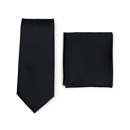 Bows-N-Ties Men's Solid Necktie and Pocket Square Set -