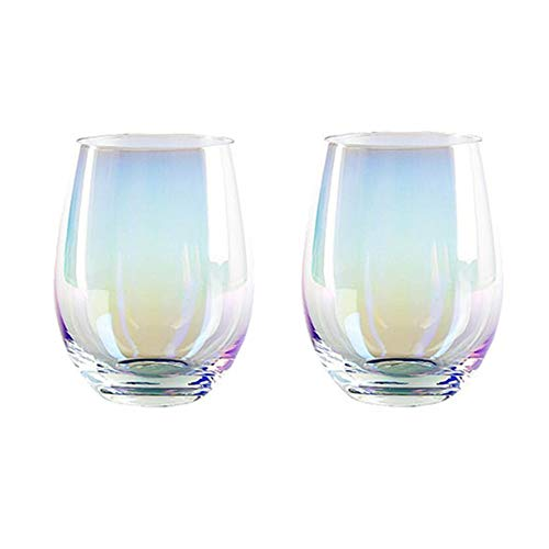 (KRQ) Stemless Wine Glasses,Red Wine Glass,Handmade Lead-Free Crystal Glass,2 Piece Set (Multicolored)