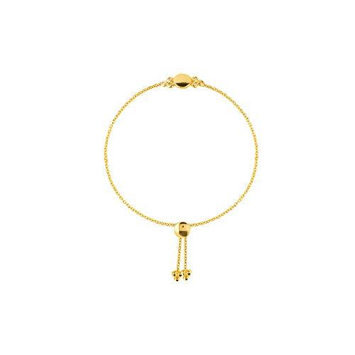 14k Yellow Gold 0.10 Dwt Trio Diamond Bezel and Disk Bolo Bracelet - 9.50 Inch - Ladies Diamond Bezel Leather Band